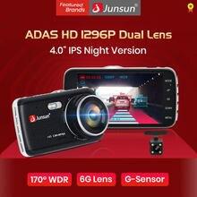 Junsun H7 أداس 1296P HD جهاز تسجيل فيديو رقمي للسيارات كاميرا سيارة ثنائية العدسة 4 بوصة IPS المزدوج عدسة 1080P مسجل فيديو Registrator للرؤية الليلية جهاز تسجي...