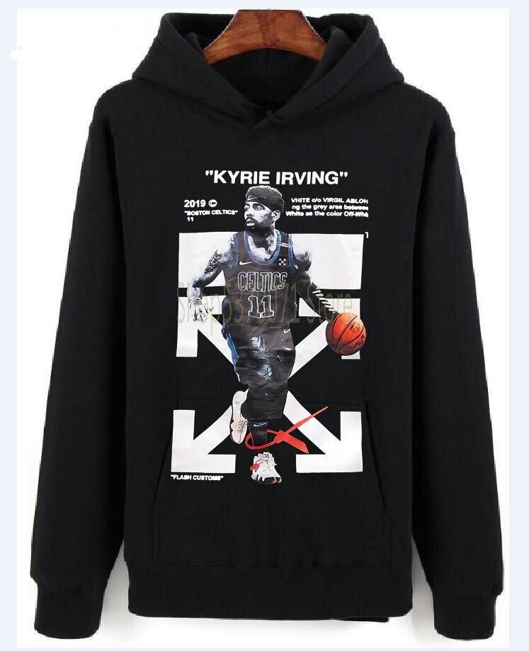 Hip-hop KYRIE IRVING OW T-Hooddes Pullover Paar Herren Damen Kurzarm Hooddes Pullover Tops Sommer T Hooddes Pullover