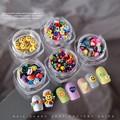 1 коробка японских 3D смайликов, цветок, красочные гвоздики для ногтей, детали для украшения ногтей, маникюрный салон