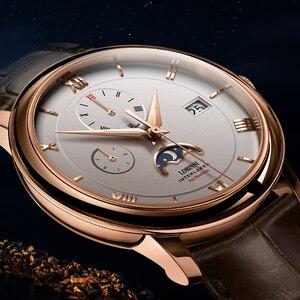 Image 2 - Suíça marca de luxo lobinni men relógios gaivota relógio automático mecânico masculino safira fase da lua 50m à prova dwaterproof água L1888 1