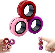 Anti-stress anéis magnéticos fidget unzip brinquedo magia ringtools crianças anel magnético dedo spinner anel adulto brinquedos de descompressão