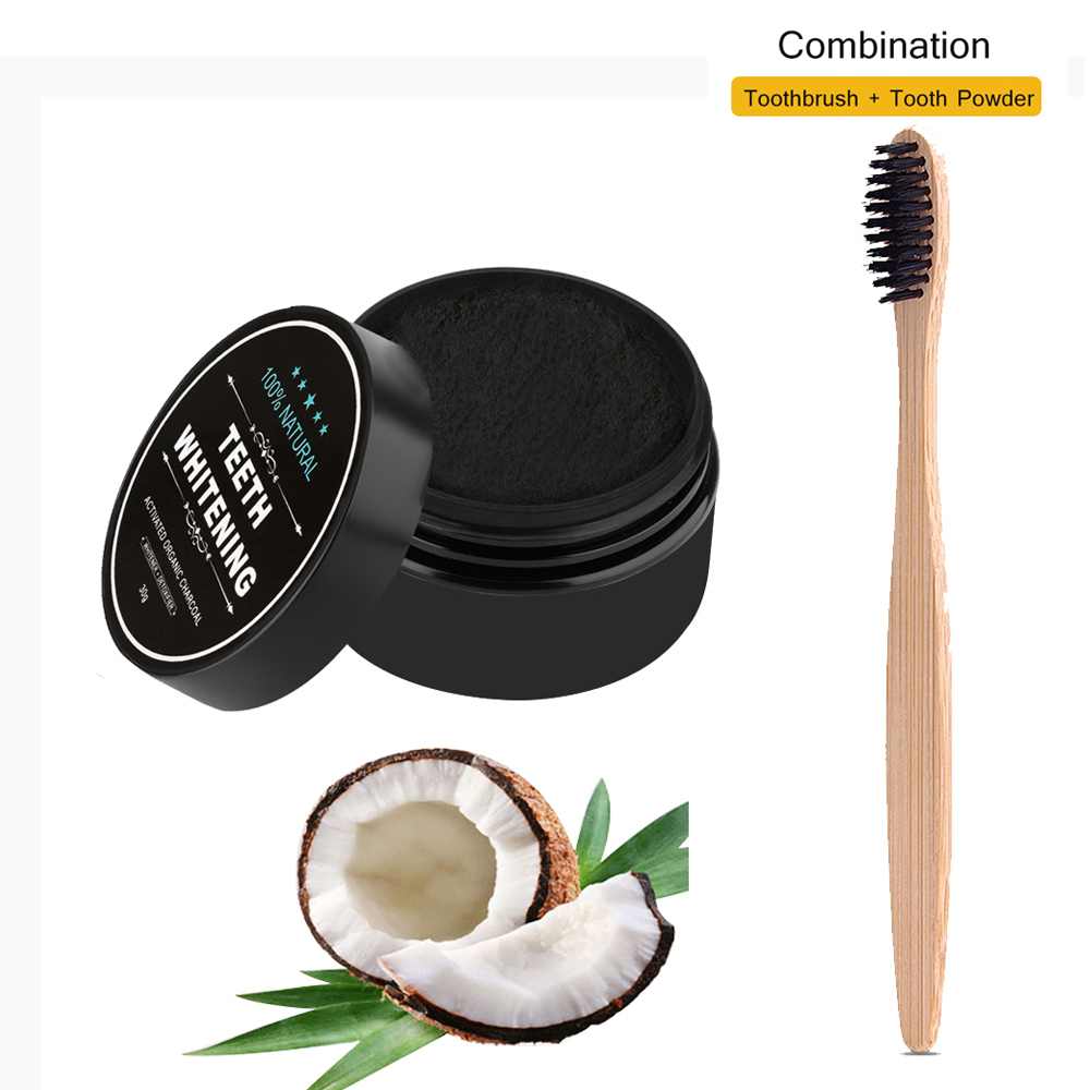 Teeth Whitening Bamboo Charcoal Toothbrush Soft-bristle Wooden Tooth Brush Tooth Powder Oral Hygiene Cleaning image