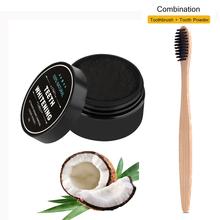 Wybielanie zębów bambusowa szczoteczka z węglem drzewnym miękkie włosie drewniana szczotka do zębów proszek do zębów czyszczenie jamy ustnej tanie tanio TackOre Dorosłych Szczoteczka do zębów 1pc Tooth brush+30g Toothpowder Wooden Toothbrush Bamboo Toothbrush 17 4cm*1 3cm