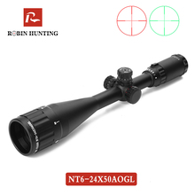 Robin Hunting NT6-24X50 AOGL Riflescope Tactical Optics Sight Glass Etched Reticle RGB Illuminated Rifle Scope For Rifle Air Gun air telescopic gunsight riflescope tri 1 4x24 e rail red green illuminated tactical optics hunting shooting rifle scope