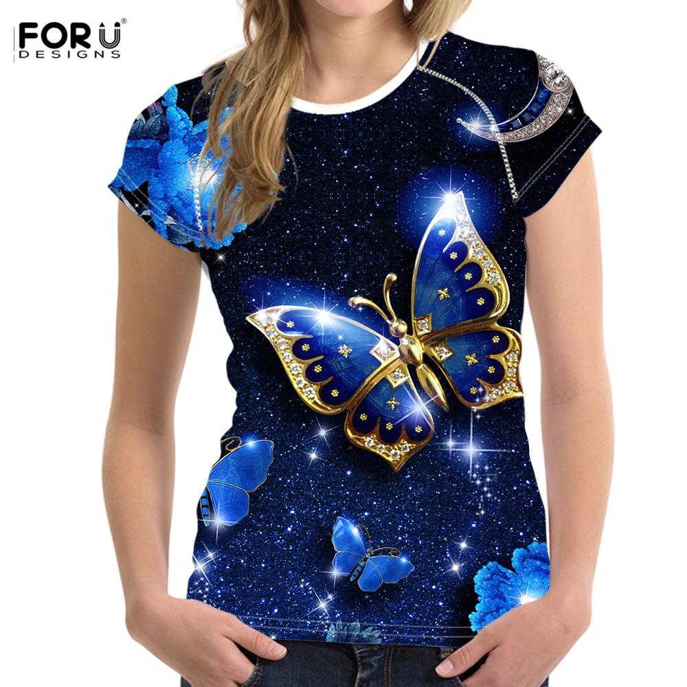 FORUDESIGNS Beautiful Butterfiles Women Blue <font><b>T</b></font>-<font><b>shirts</b></font> 3D Print Summer Tshirt <font><b>Slime</b></font> Elastic Outdoor Party Wear Ladies Tops Tee image
