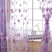 Modern Purple Tulip Tulle Curtains For Living Room Drape Panel Sheer Scarf Valances Curtains For Home Decorative Accessories(China)