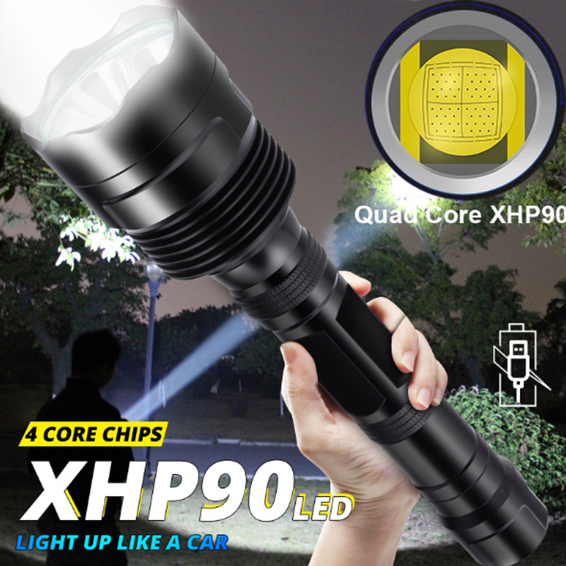 XHP90 LED Flashlight Ultra Bright Torch USB Rechargeable Waterproof Zoomable 3 Switch Modes Flashlights Use 18650 26650 Battery
