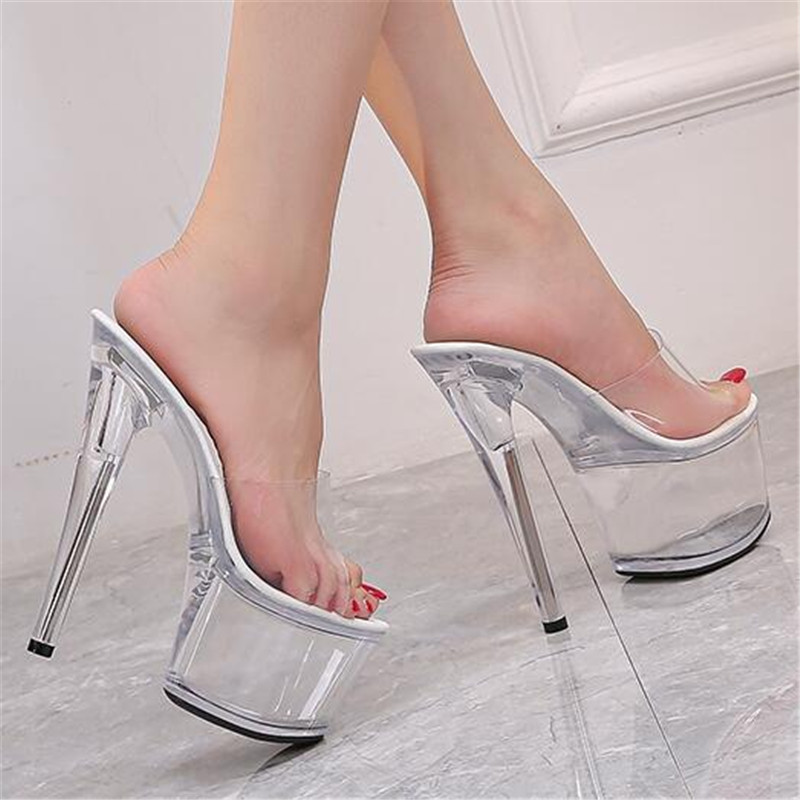 Summer Fashion Transparent PVC Slipper <font><b>17cm</b></font> Super <font><b>High</b></font> <font><b>Heels</b></font> <font><b>Sexy</b></font> Nightclub Party Slippers Female Platform Pole Dance Sandals image