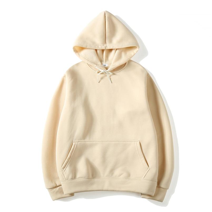 2019 Size Fashion Colorful Hoodies Men's Thicken Clothes Winter Sweatshirts Men Hip Hop Streetwear Solid Fleece Man Hoody S-3xl