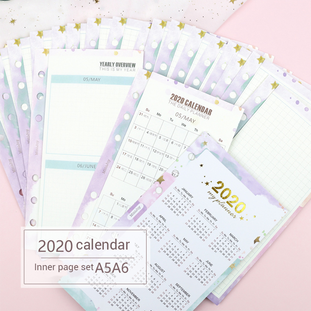 23 Sheets 2020 Calendar Three Fold Inner Page Handbook Calendar Monthly Plan Loose-leaf Refill A5 A6 Agenda Office Supplies