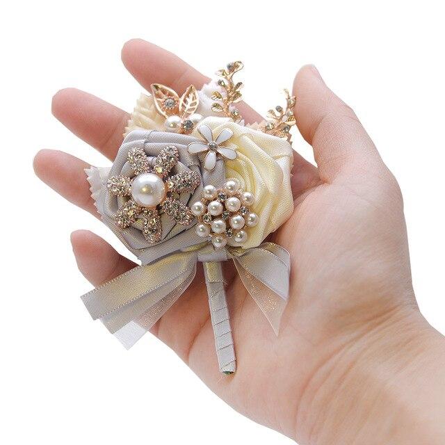 Femmes hommes mariage broche boutonnière et Corsage mariage bal cadeau pour marié broches feuille dor épinglette mariage boutonnière