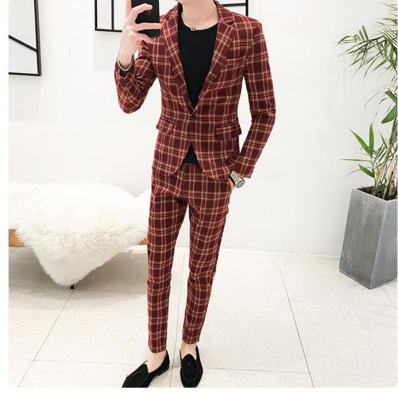 2 Piece Suit 2020 Morning Dinner Party Prom Suit Plaid Houndstooth Groom Wedding Men Suit Slim Fit Tuxedo Mens Suits With Pants