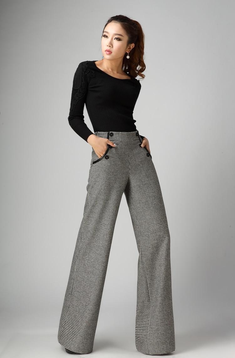 Women Wool Pants Women Autumn Plaid Winter Thicken Woolen Trousers High Waist Wide Leg Pants Removable Strap Overalls W1303
