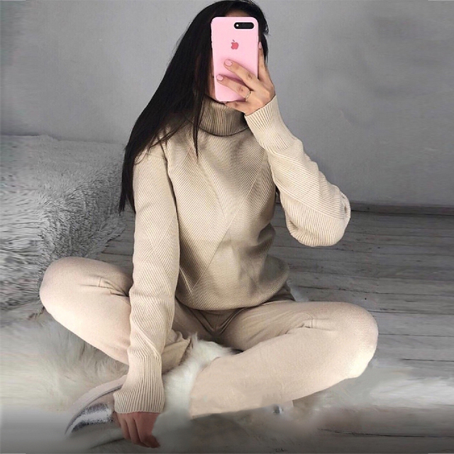 MVGIRLRU Woman Sweater Suits Casual  Knit Tracksuit Turtleneck Pullovers+pants Two Piece Sets Female Outfits 3