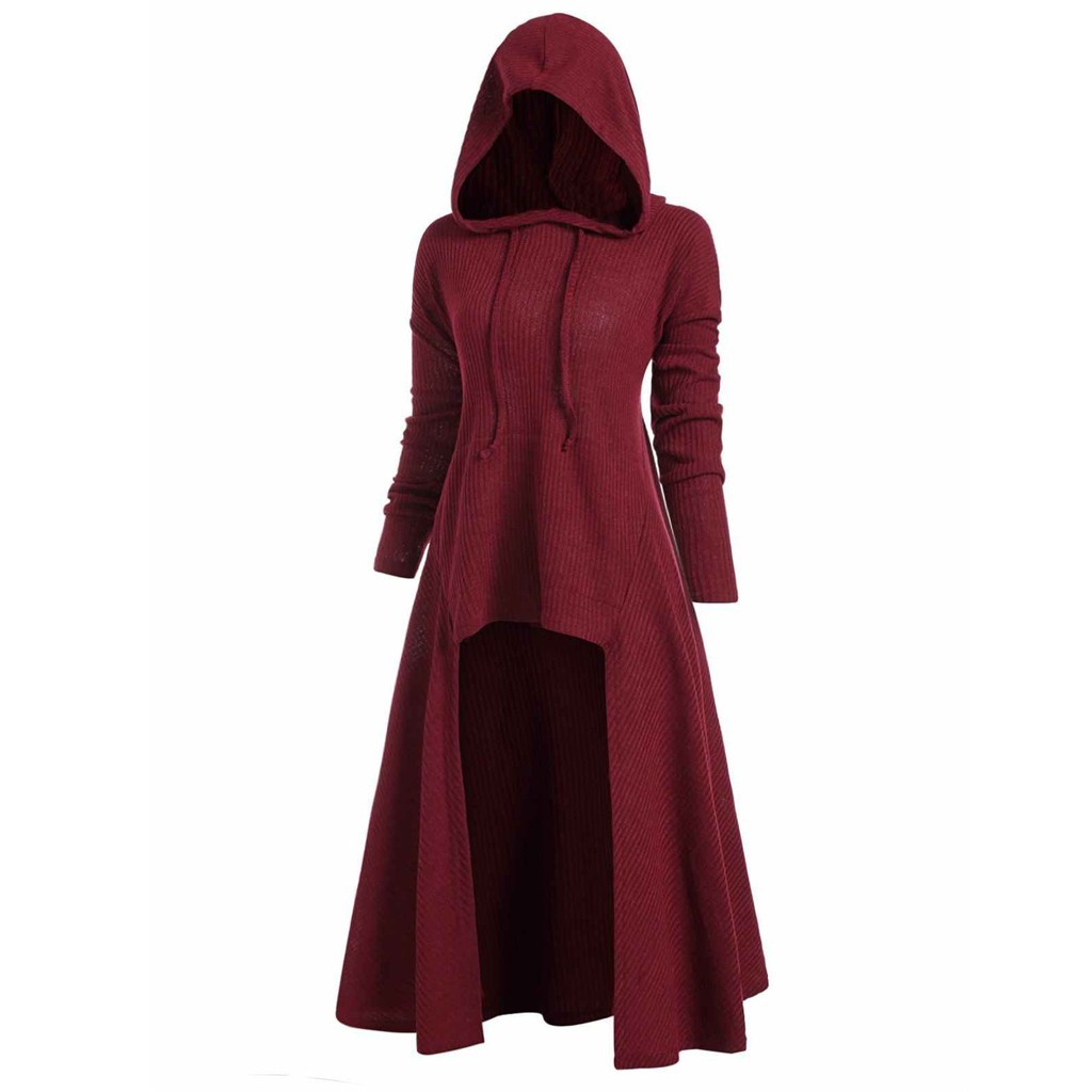 Womens Ribbed Zip Up Ladies Hooded Top Long Sleeve Hoodie Baggy Sweatshirt Dress