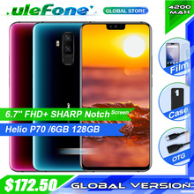 Ulefone T2 6.7 FHD+ Helio P70 6GB 128GB Smartphone Dual 4G Fingerprint Face ID NFC Android 9.0 Mobile Phone 4200mAh