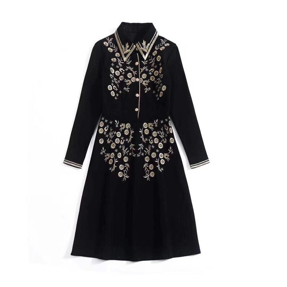 Primavera 2020 para las mujeres europeas y americanas desgaste del bordado de manga larga solapa vestido negro de moda