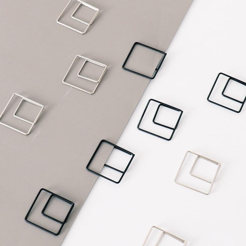 TUTU 10pcs/lot Geometric Shape  Sliver Black Clip Creative Square Styling Hand Decoration Office Accessories Paper Clips H0414