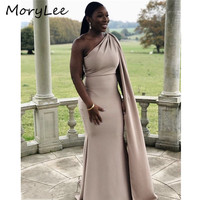 Champagne Bridesmaid Dresses With Cape African Special One Shoulder Floor Length Mermaid Satin Wedding Party Bridemaid Dresses
