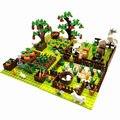 Набор строительных блоков moc, яблоко, nimals Paradise, маленькая Ферма для речной фермы, сада, сцена «сделай сам», корова, собака, лошадь, сборные Игр...