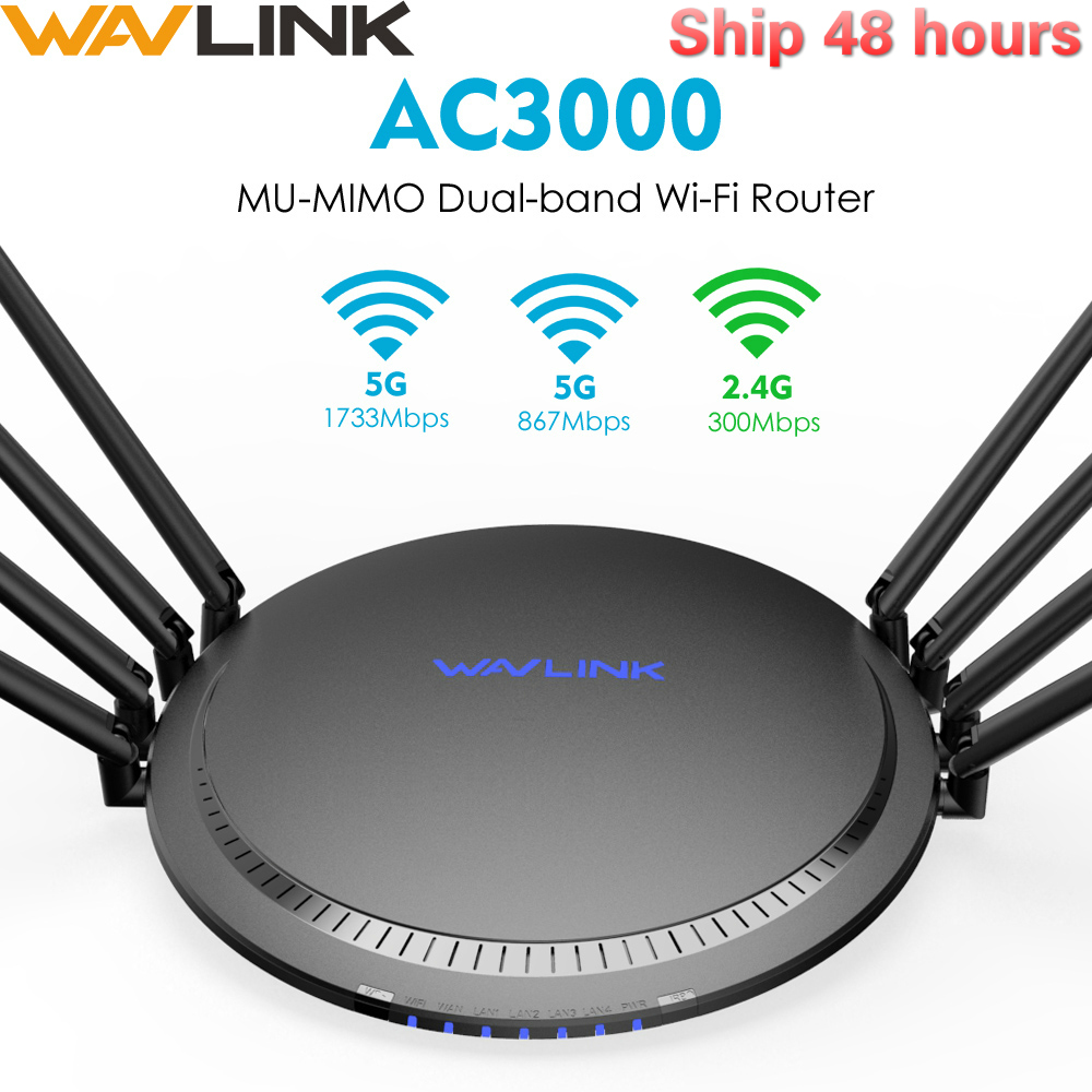 Wavlink Full Gigabit AC3000 Wireless Wifi Router/Repeater MU-MIMO Tri-band 2.4/5Ghz  Smart Wi-Fi Router Touchlink USB 3.0