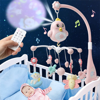 0-12 Months Newborn Infant Baby Rattles Crib Mobiles Toys Holder Rotating Mobile Bed Bell Musical Box Projection Baby Boy Toys