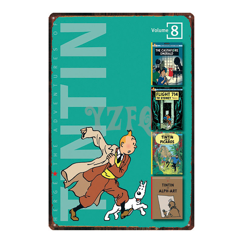 Tintin Cartoon Metal Signs Plaque Metal Vintage Wall Pub Kid 39 s Room Home Art Party Vintage Decor Iron Poster Cuadros DU 2972 in Plaques amp Signs from Home amp Garden