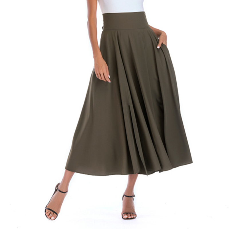 2020 New Fashion  Women Long Skirt Casual Spring  Summer Skirt womens Elegant Solid Bow-knot A-line Maxi Skirt Women Cothes (1)