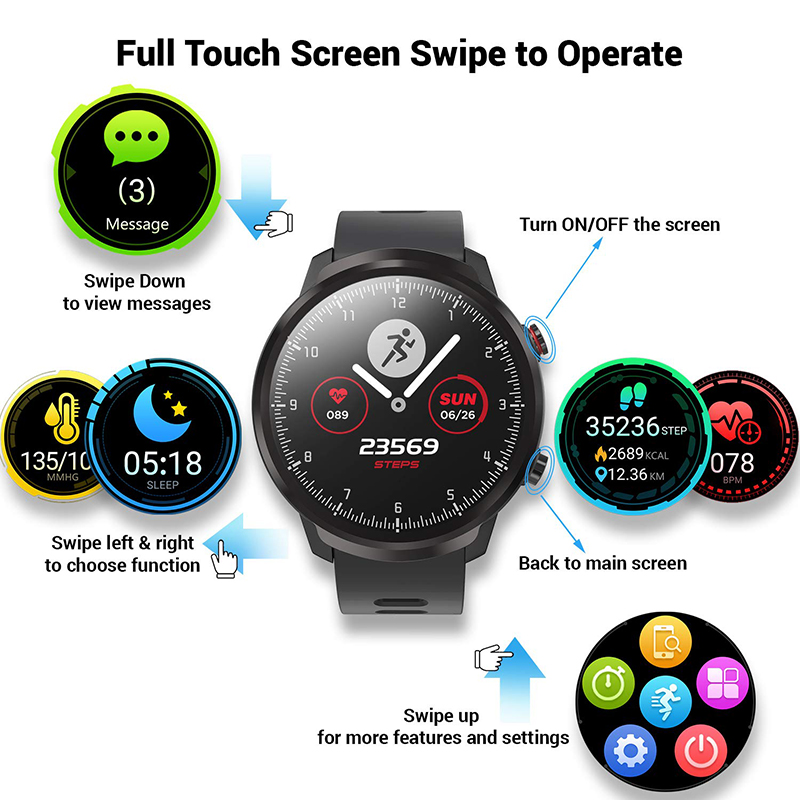 L3 Waterproof Smart Watch with Round Screen Heart Rate Pedometer and Call Message Reminder Smart Activity Tracker for Women Men 7