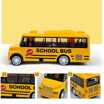 Kid Children Alloy Mini Simulation Pull Back School Luxury Bus Model Collectible Toy Desk Decor Gift image