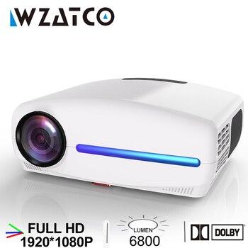 WZATCO-Proyector LED C2 para cine en casa, Proyector portátil de 1920x1080P, Full HD, con Keystone Digital 4D, 6800 lúmenes