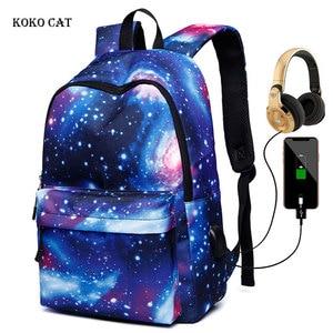 Image 1 - Erkekler tuval okul dizüstü sırt çantası Galaxy yıldız evren uzay USB şarj gençler için erkek öğrenci kızlar çanta seyahat Mochila