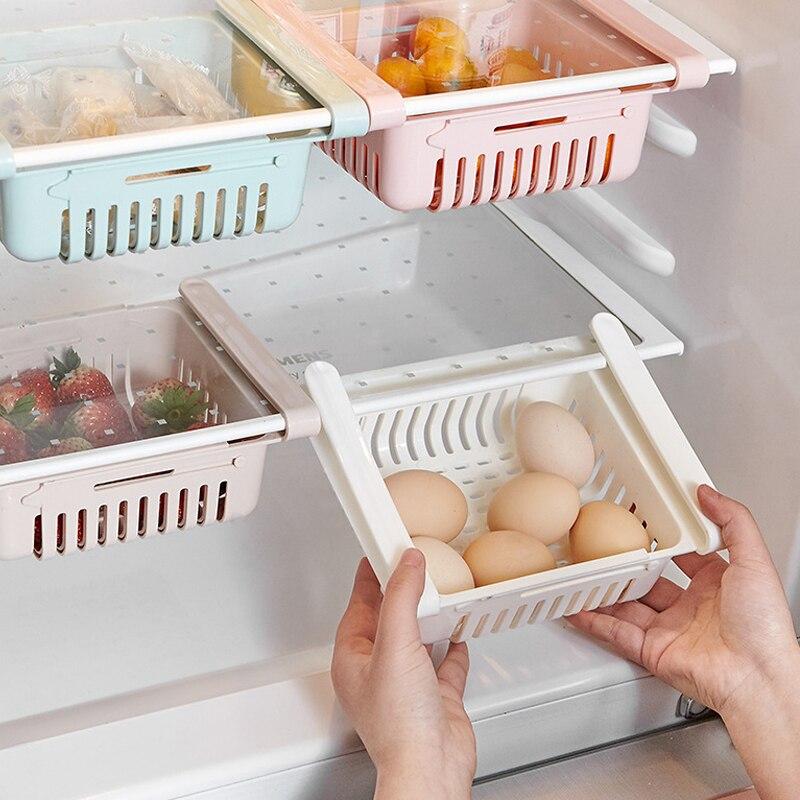 Retractable adjustable refrigerator storage box drawer basket refrigerator drawer drawer fresh compartment storage rack 1