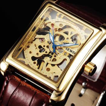 Sewor zegarki moda prostokąt zegarki męskie zegarki szkieletowe skórzany pasek mechaniczne zegarki na rękę mężczyźni zegarki biznesowe tanie i dobre opinie Nie wodoodporne CN (pochodzenie) Klamra Moda casual Mechaniczna Ręka Wiatr 23cminch STAINLESS STEEL Odporny na wstrząsy