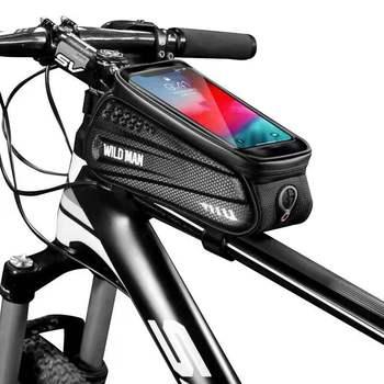 WILD MAN torba na rower rama przednia górna rura torby na rower wodoodporna torba na telefon 6 5in torba na ekran dotykowy MTB Pack akcesoria rowerowe MTB tanie i dobre opinie CN (pochodzenie) odporne na deszcz ES3 ES2