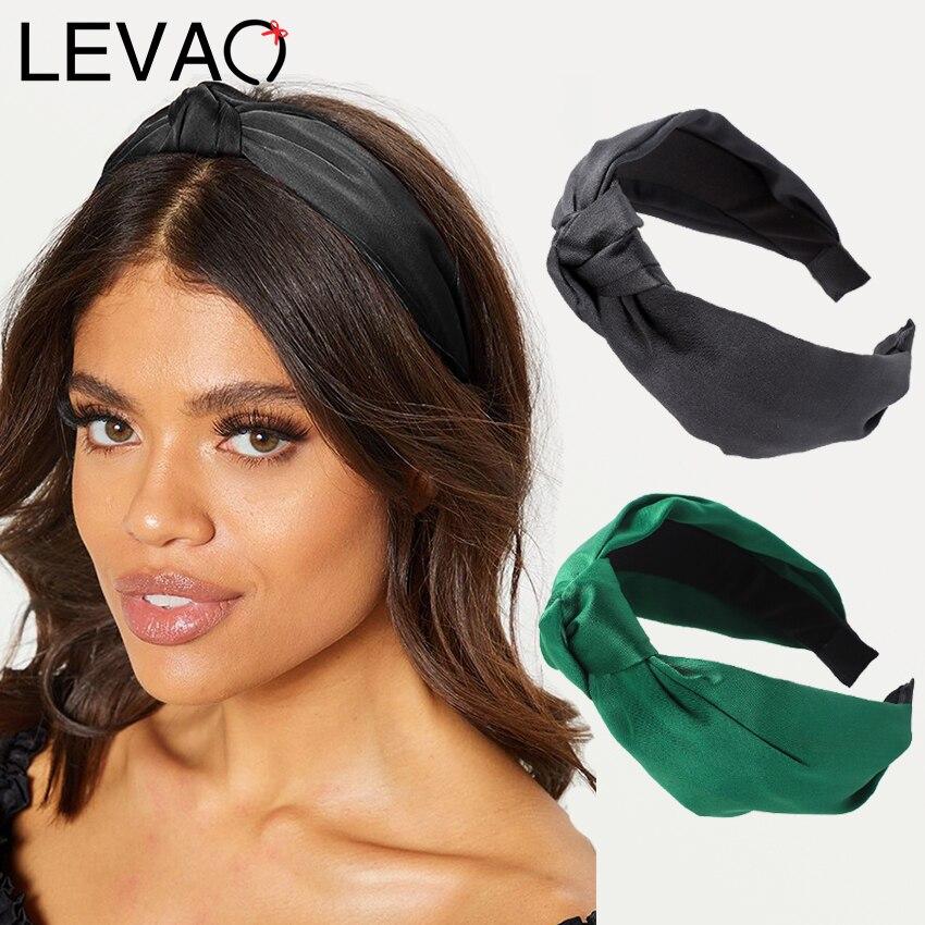 Обруч для волос Levao глянцевый женский, атласный однотонный ободок с узлом, аксессуар на голову