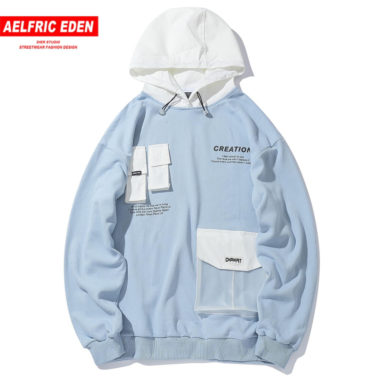 Aelfric Eden Transparent PVC Hoodies Men 2020 Hip Hop Hoodie Pullover Hooded Sweatshirts Streetwear Front Pockets Tops Oversized