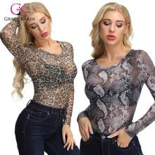 Grace Karin Sexy Vrouwen T-shirt Leopard/Snake Skin Patroon Semi Doorkijkmodel Lange Mouwen Crew Neck Tops Mode lady T-shirt Tops(China)