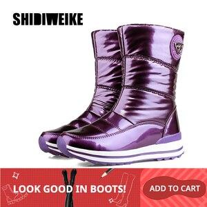 Image 2 - Высококачественные женские ботинки; Новое поступление 2020 года; Водонепроницаемая зимняя обувь на толстом меху; Нескользящие женские зимние ботинки на платформе; 40; n541