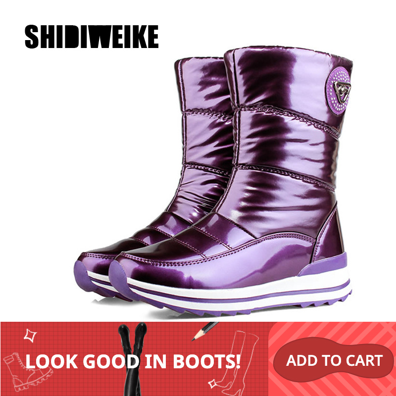 Botas de mujer de alta calidad 2019 nuevas llegadas zapatos de invierno de piel gruesa impermeables antideslizantes botas de nieve de plataforma de mujer-40 n541