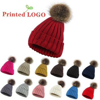 DIY Winter Beanie Woman Custom Logo Cap New Wool Blended Soft Knitted Hat Cute Warm Hairball