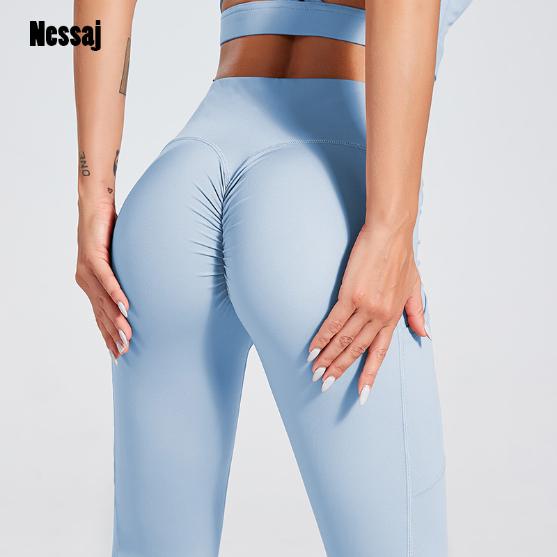 Nessaj Women Gym Leggings High Waist Fitness Legging Pant Female Workout Sports Knit Nylon Leggings Solid Push Up Casual Pants