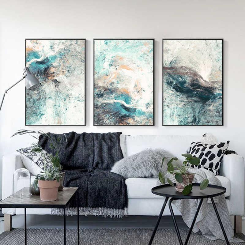الشمال الحديثة هندسية مجردة نمط 3 قطع قماش الفن اللوحة جدار ملصق فني و يطبع الصورة لغرفة المعيشة NoFrame