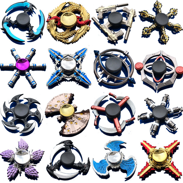 Zinc Alloy Fidget Spinner Metal Tri Fidget Hand Spinners Finger Focus Toy Smooth  Electroplate Hybrid Bearing Toys For Kids Gift