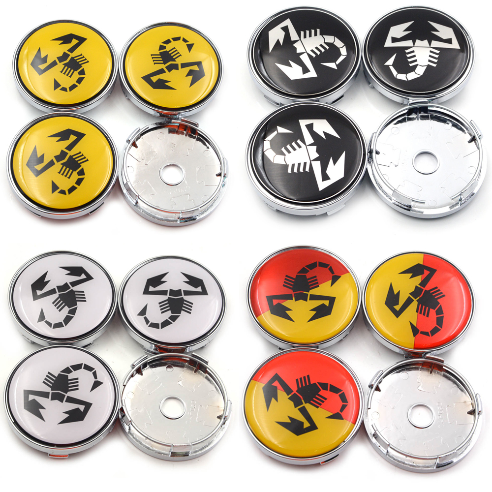 4pcs/lot 60mm Abarth <font><b>Car</b></font> Emblem Sliver <font><b>Wheel</b></font> <font><b>Center</b></font> Hub Caps Scorpion Auto Steering Badge Universal <font><b>Covers</b></font> for 124 125 500 695 image