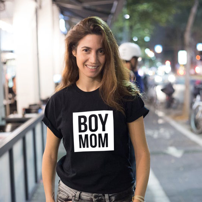 Boy Mama T Shirts Funny Mom Life Women Tops Tee Mother's Day Female T Shirt Letter Print Tshirt Summer Short Sleeve Casual Shirt