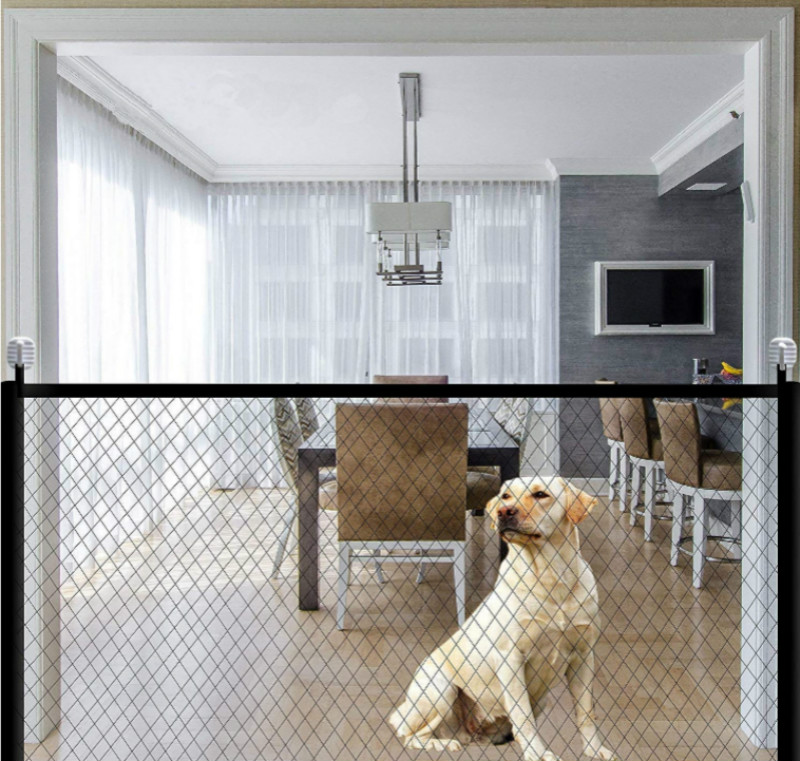 Portable and Folding Dog Gate and Mesh pet Fence for Dog Safety Indoor and Outdoor 6