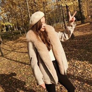 Image 5 - Abrigo de invierno con cuello de piel de zorro saco Bomber de mujer Mujer