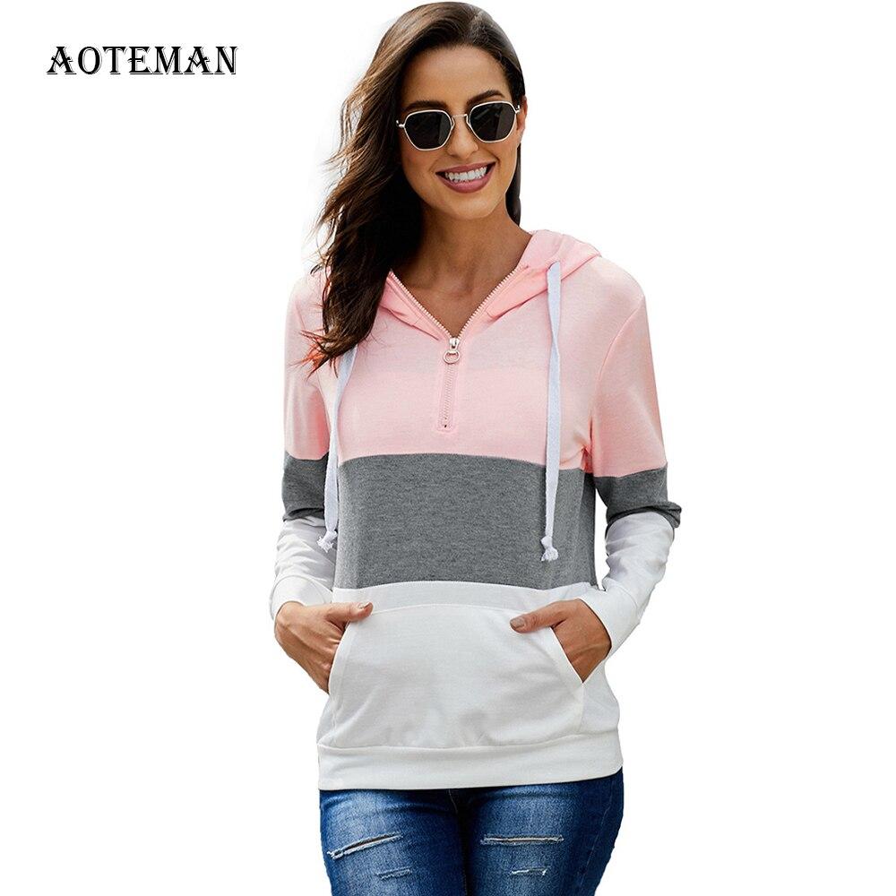 Spring Autumn Hoodies Sweatshirt Women 2020 Casual Color Striped Pocket Hoddies Female Warm Pullover Long Sleeve Outwear Striped