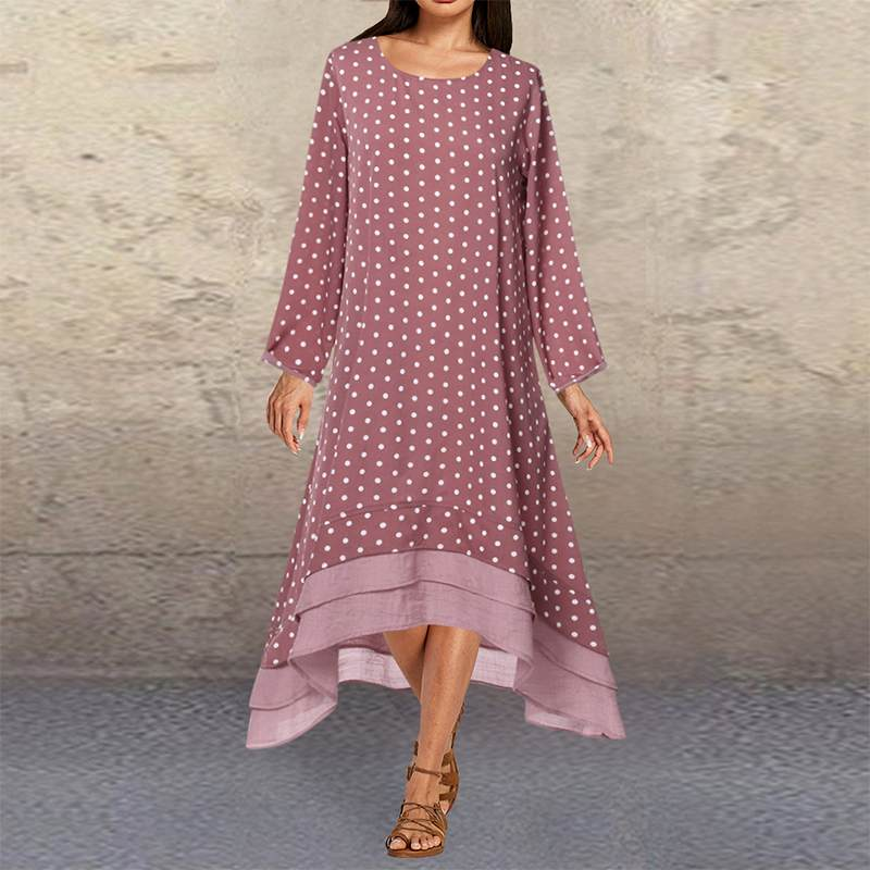 2019 ZANZEA Women Polka Dot Dress Autumn Long Sleeve Pacthwork Sundress Casual Asymmetrical Hem Vestido Plus Size Kaftan Dresses